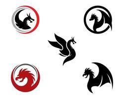 set logo testa di drago vettore