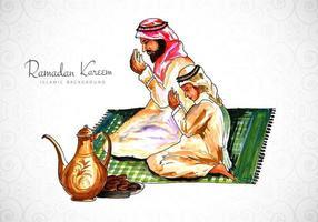 disegno della cartolina d'auguri di Ramadan con uomo che prega