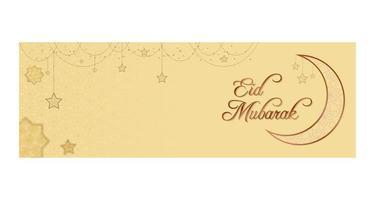striscione eid mubarak con stelle pendenti decorate vettore