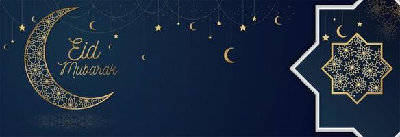 striscione blu eid mubarak con elementi ornati d'oro vettore