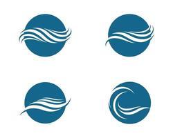 set logo onda circolare acqua blu