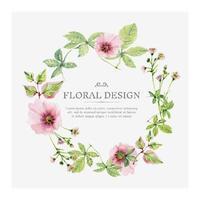 corona floreale dell'acquerello rosa tenero