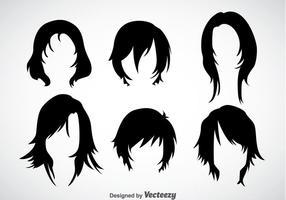 Set di icone di acconciature della ragazza vettore