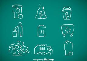 Vettore delle icone disegnato gesso dell'immondizia