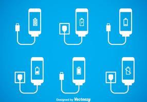 Set di icone caricabatterie telefono vettore