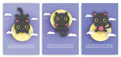 biglietti d'auguri con gatto nero sulla luna vettore