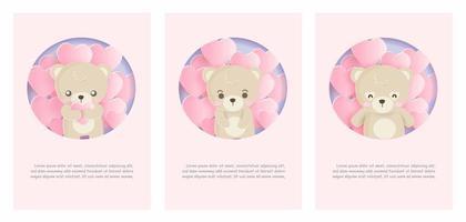 set di carte con orso e palloncini vettore