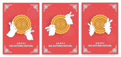 set di carte festival autunnale con conigli su rosso