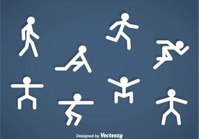 Icone di esercizio Stickman persone vettore