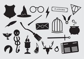 Grande set di icone maghi stregoneria