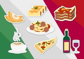 Vettore di illustrazioni di cibo italiano