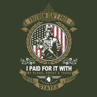 noi emblema veterano con soldato vettore