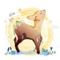 cervo nei campi di fiori