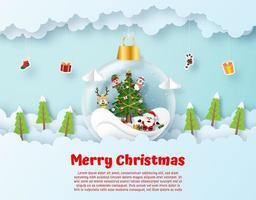 arte di carta origami di Babbo Natale e amico in sospeso in ornamento
