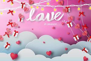 carta tagliata rosa disegno d'amore con nuvole