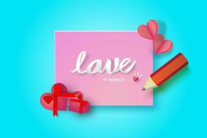 disegno di nota di amore di carta di San Valentino
