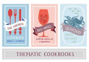 Vari sfondo di vettore di libri di cucina tematici