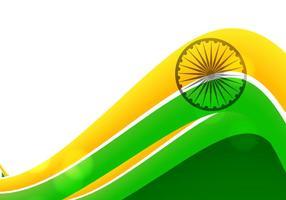 Tricolore della bandiera indiana su fondo bianco vettore