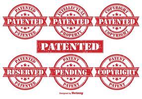 Timbri di gomma di vettore di brevetto