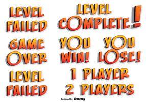 Etichette di testo di gioco vettoriale