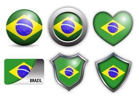 Vettore libero delle icone della bandiera del Brasile