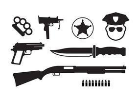 Icone vettoriali minime del crimine