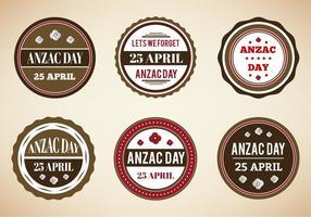 Distintivi d'epoca vettoriali gratis per Anzac Day