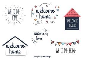 Etichette di benvenuto a casa vettoriale