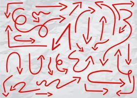 Insieme di vettore delle frecce di doodle