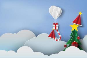sfondo di Natale di carta a strati