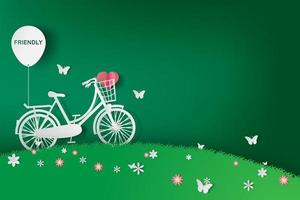 andare in bicicletta sul campo vettore