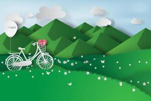 bicicletta in montagna verde sfondo design ecologico vettore