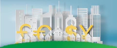 paesaggio urbano di arte di carta con forme di valuta vettore