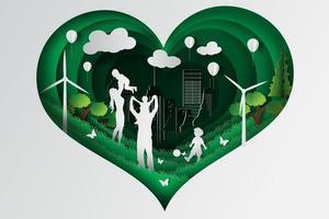 famiglia felice che gioca nel design del cuore del parco
