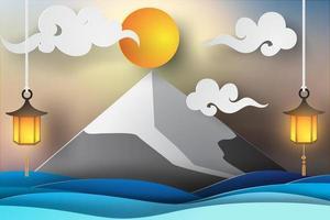 mt fuji paper art design