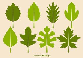 Insieme dell'icona di vettore delle foglie verdi