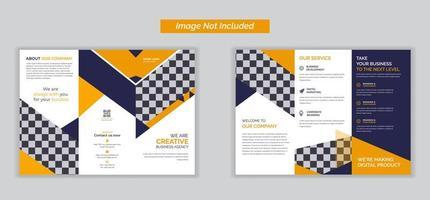 brochure pieghevole arancione tripla per affari e pubblicità, design brochure, modello di brochure, pieghevole creativo, brochure di tendenza vettore