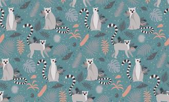 Lemuri circondati da foglie di palma tropicale senza cuciture