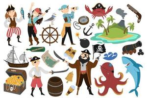 pirata impostato in stile disegnato a mano