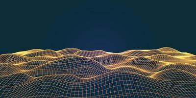 paesaggio fluente di wireframe con linee di collegamento