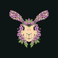 coniglio frondoso floreale vintage