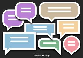 Vettori di adesivo colorato bolla di discorso