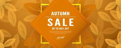 banner promozionale vendite autunno foglie d'arancia