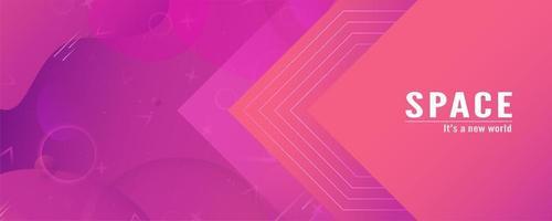 banner di forme geometriche e fluide sfumatura rosa