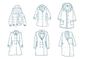 Insieme di vettore del profilo del cappotto di inverno