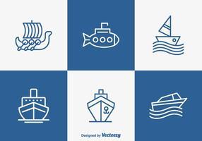 Delineato la barca e la nave icone vettoriali