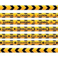 nastro della polizia di avvertimento di coronavirus vettore