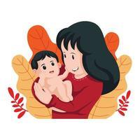 disegno felice del bambino della holding della madre vettore