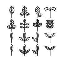 collezione di icone di foglie e foglie