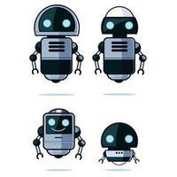 set di robot dei cartoni animati in stile piano vettore